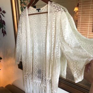Sheer embroidered shawl